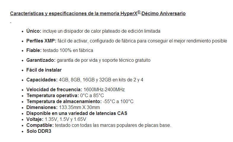 HyperX Specs