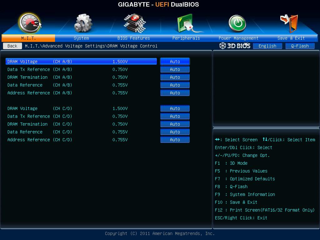 Advanced voltage settings (RAM)