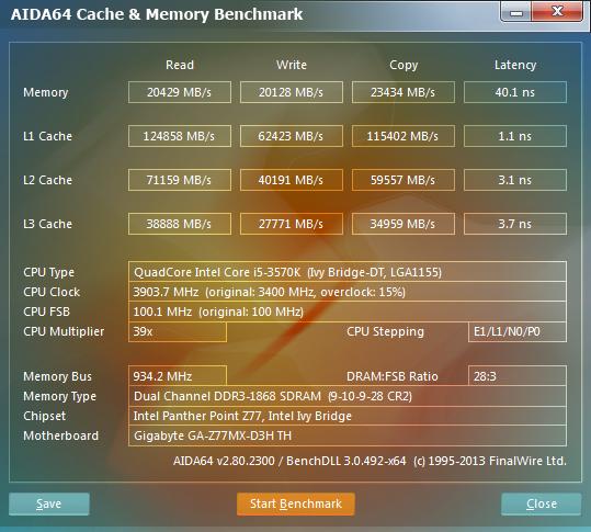 AIDA64 Cache & Memory Benchmark Intel i5 3570K