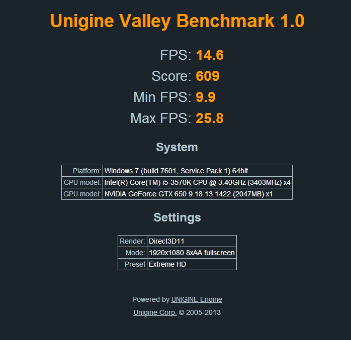 Unigine Valley Benchmark 1.0