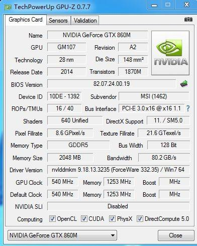 GPUz GTX 860M