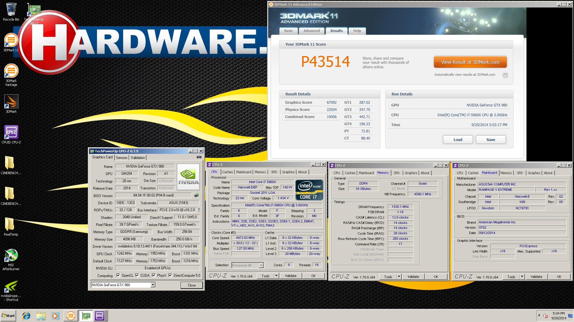 Nvidia GeForce GTX 980 world record 4-way SLI ASUS Tones screenshot