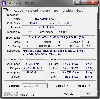 6700K Overclock CPU-Z