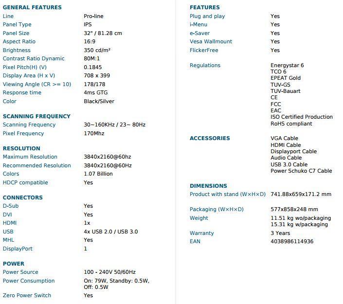 AOC U3277PQU especificaciones