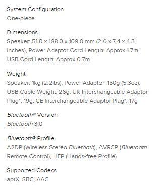 Especificaciones Sound Blaster ROAR 2