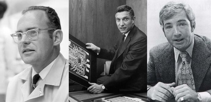 De izquierda a derecha: Gordon Moore, Robert Noyce y  Jerry Sanders