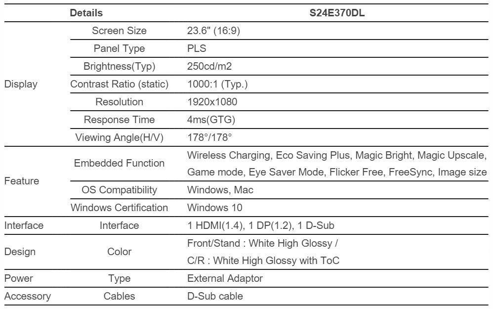 Samsung SE370 specs