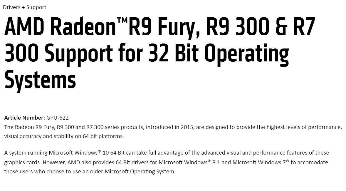 AMD drivers 32 bit