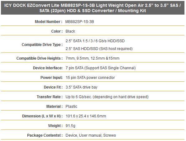 Icy Dock EZConvert MB882SP-1S-3B características técnicas