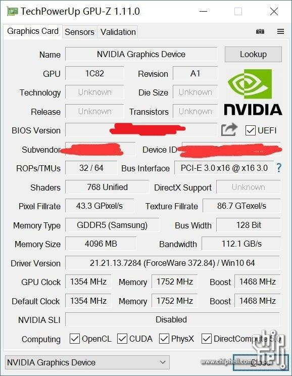Nvidia Geforce GTX 1050 Ti GPU-Z leaked
