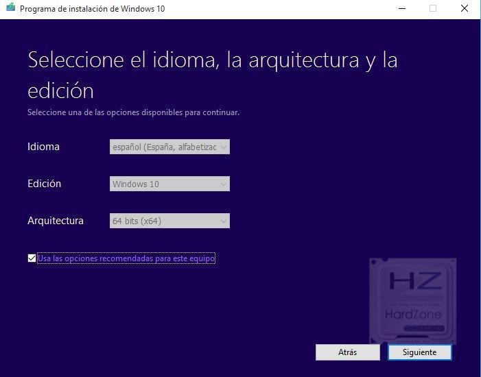 Selección de idioma Windows 10