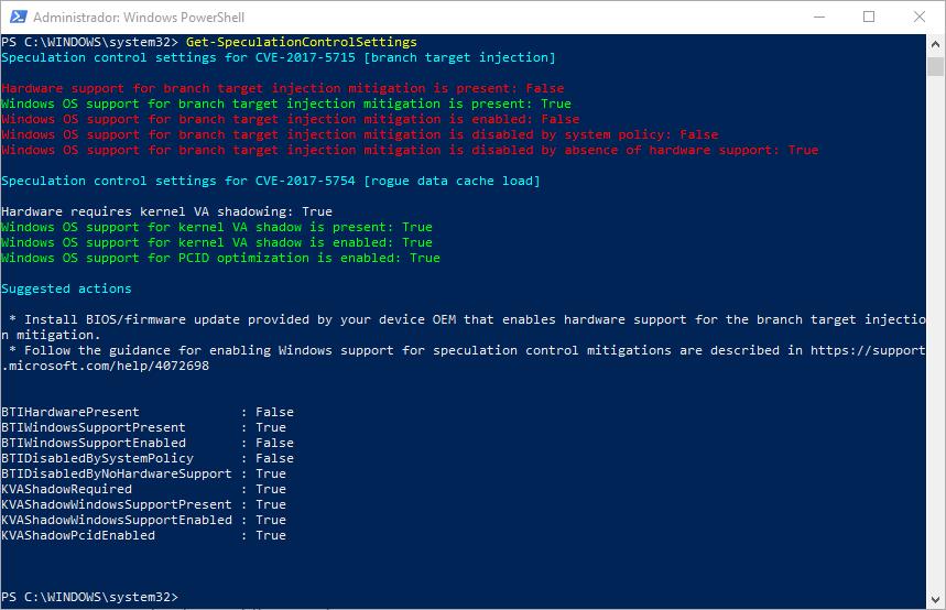 Comprobar vulnerabilidades Meltdown Spectre Intel