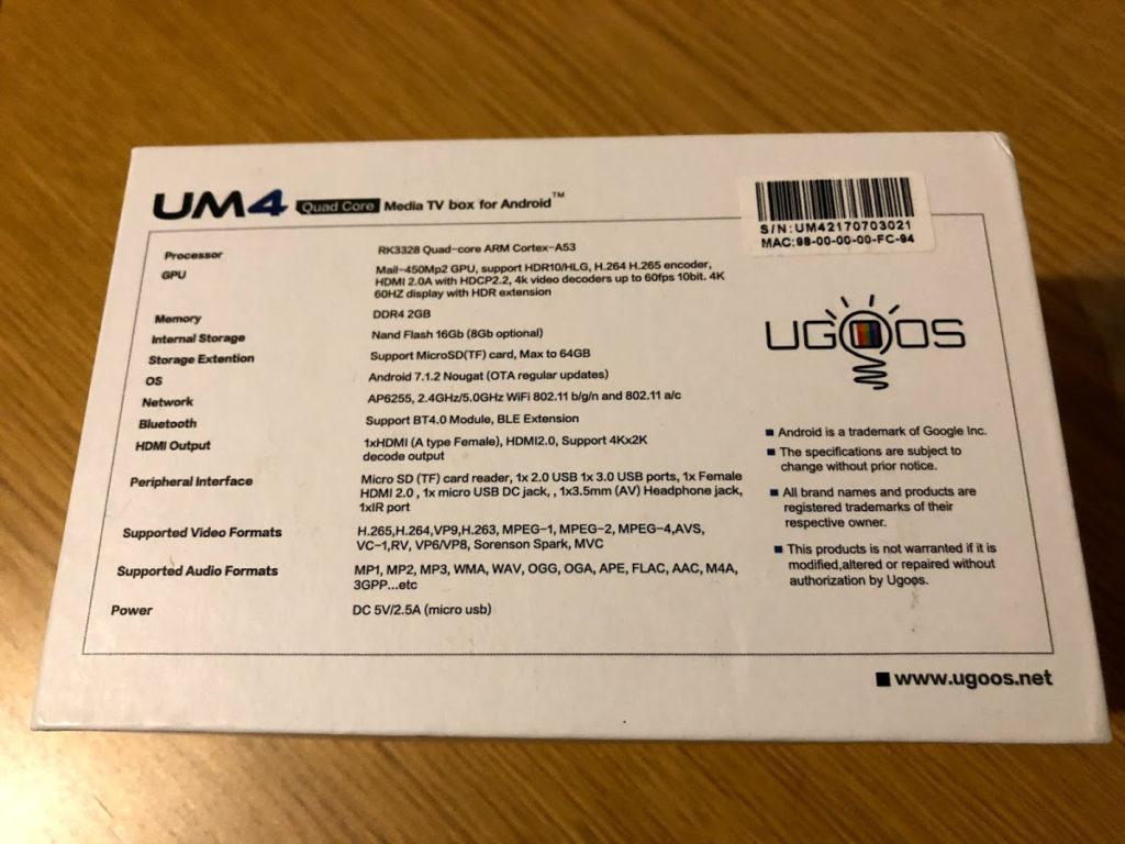 Hardware Ugoos UM4 TV