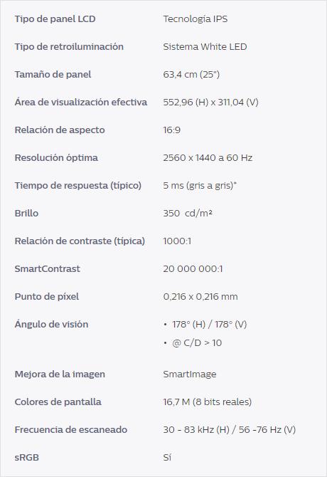 Características técnicas delPhilips Brilliance 258B6QUEB
