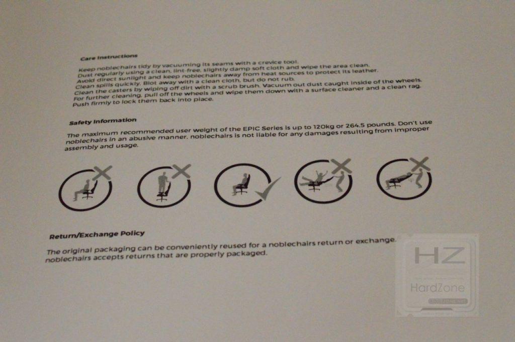 Noblechairs EPIC PU Black Red - Manual Precauciones