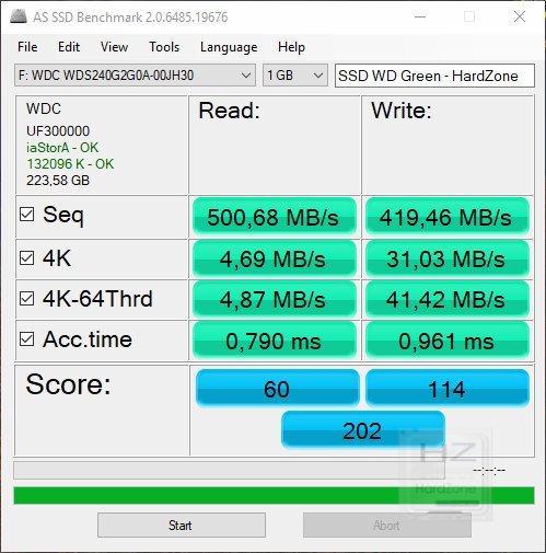 SSD Western Digital Green 240 GB - AS SSD Benchmark 1