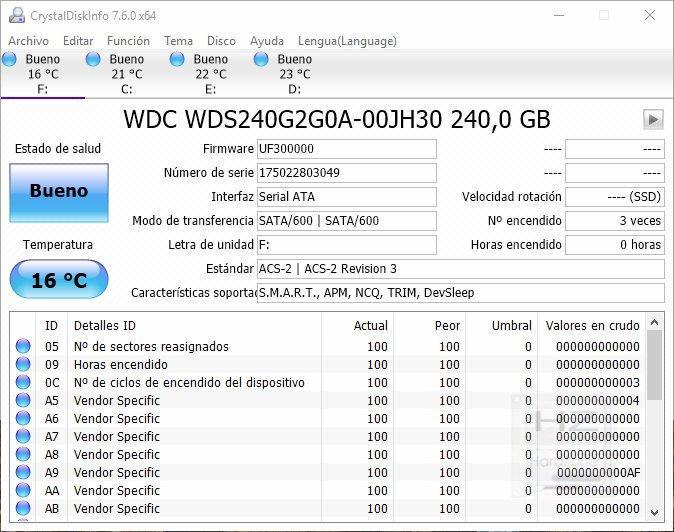 SSD Western Digital Green 240 GB - CrystalDiskInfo