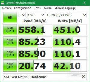 SSD Western Digital Green 240 GB - CrystalDiskMark 1