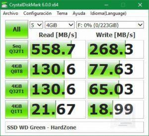 SSD Western Digital Green 240 GB - CrystalDiskMark 2