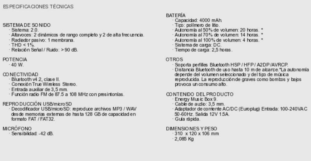 especificaciones tecnicas energy music box 9