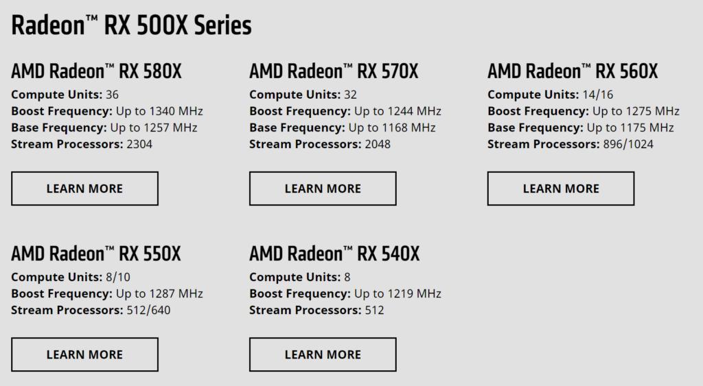 AMD Radeon RX 500X