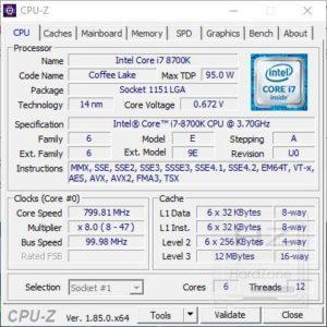 AORUS Z370 Gaming 3 - CPUZ 1