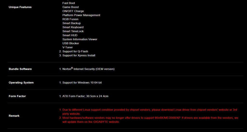 AORUS Z370 Gaming 3 - Especificaciones