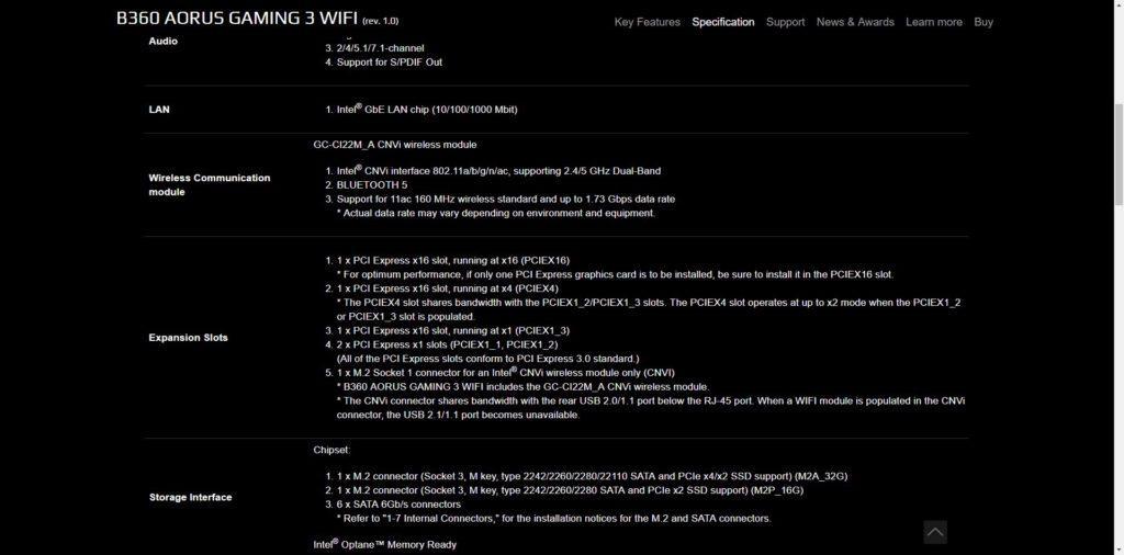 B360 AORUS GAMING 3 WIFI - Especificaciones