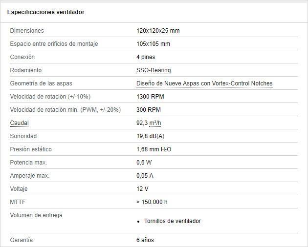 Especificaciones NoctuaNF-P12 Redux