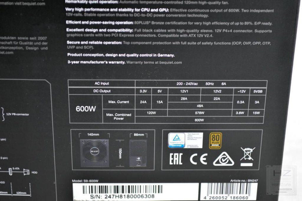Análisis be quiet! System Power 9 600W - Caja 5