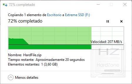 SanDisk Extreme Portable SSD . Velocidad escritura