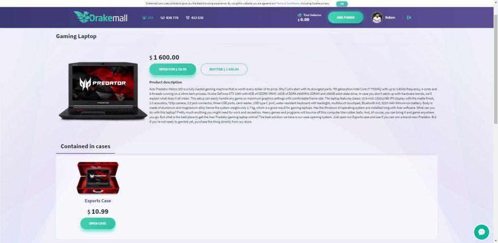 portátil gaming Acer DrakeMall