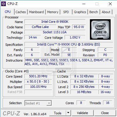 Intel i9 9900K CPU-Z - Review 7