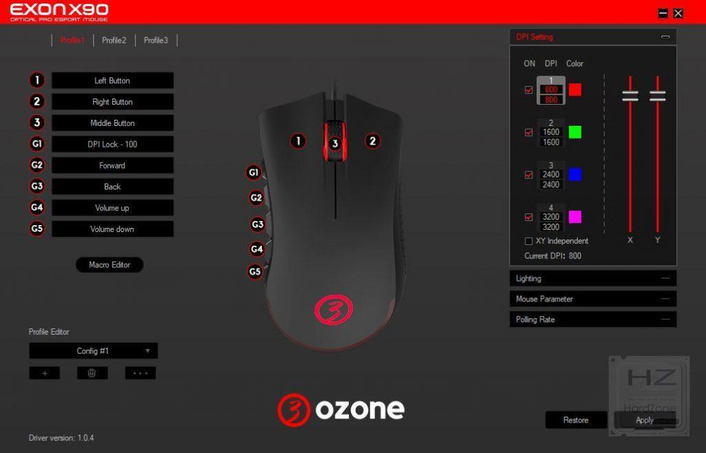 Software configuración Ozone Exon X90
