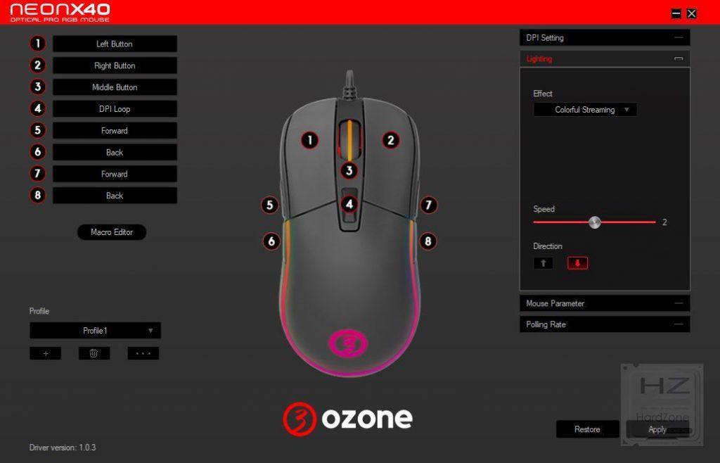 Software configuración Ozone Neon X40