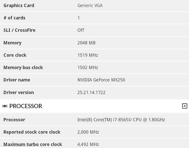 NVIDIA MX250 3DMark specs