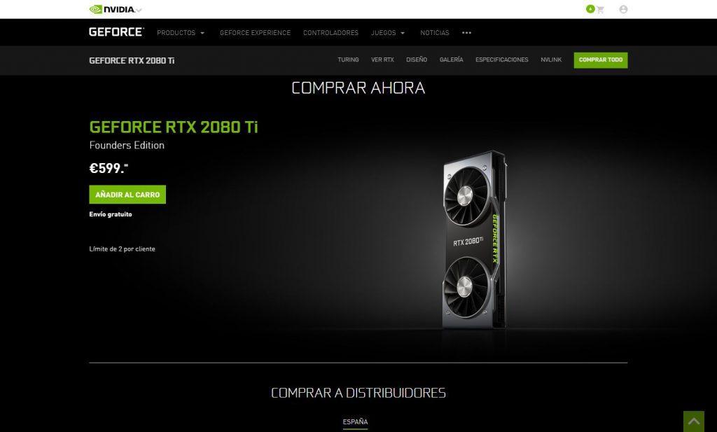 Precio NVIDIA RTX 2080 Ti rebaja d18