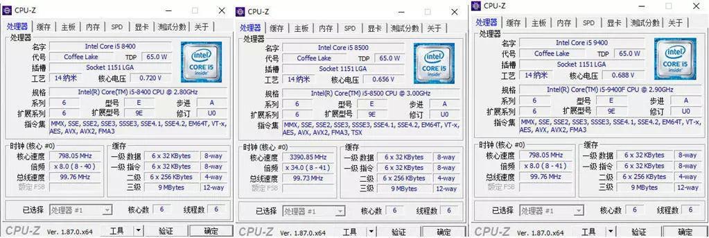 Intel Core i5-9400F vs i5-8400 vs i5-8500
