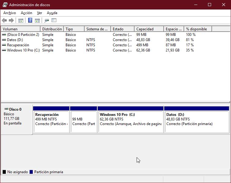 Administrador de discos Windows