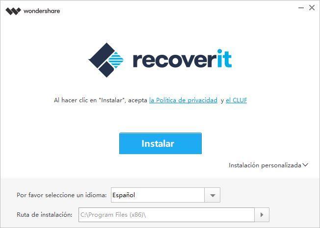 Wondershare Recoverit - Instalar