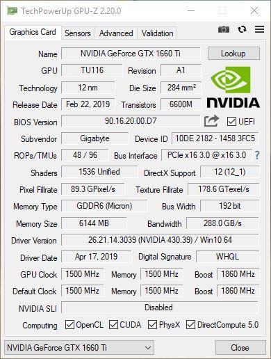 GPU-Z GTX 1160 Ti OC Gigabyte
