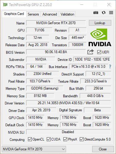 GPU-Z RTX 2070 KFA2