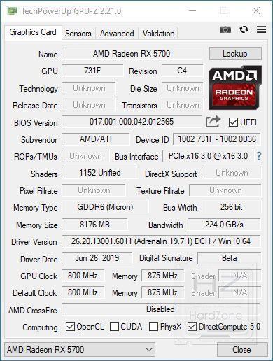 AMD Radeon RX 5700 - GPU-Z
