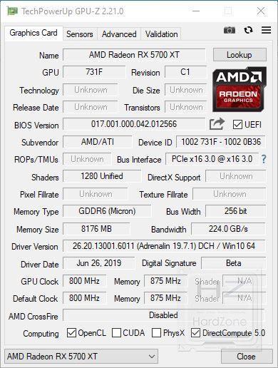 AMD Radeon RX 5700 XT - GPU-Z