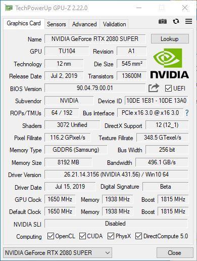 GPU-Z - NVIDIA GeForce RTX 2080 SUPER