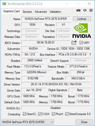 NVIDIA GeForce RTX 2070 SUPER Founders Edition - GPU-Z
