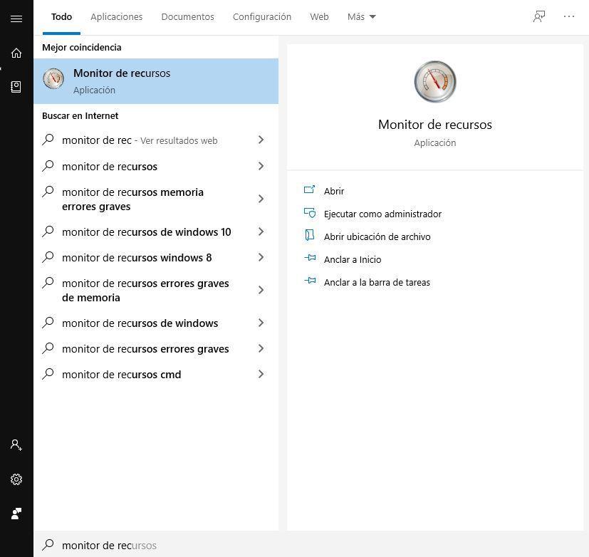 Cómo acceder al monitor de recursos de Windows 10