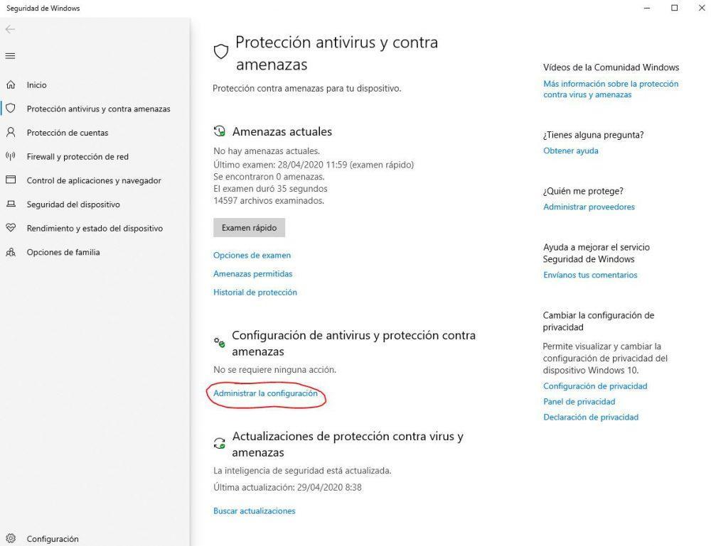 Desactivar antivirus en Windows 10