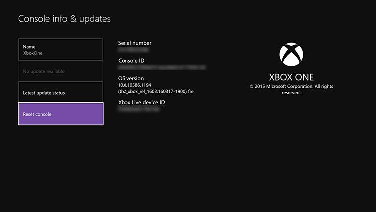 Reset Xbox
