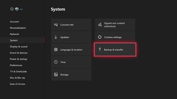 Backup Xbox One